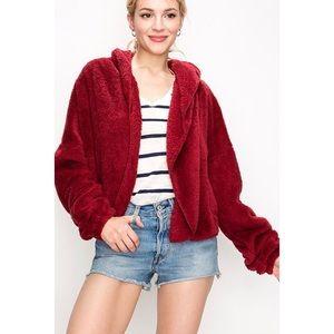 Sweaters - 🆕Dezi Wine Teddy Faux Fur Plush Cardigan Jacket